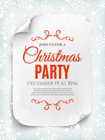 invitation background: Christmas party invitation poster, flyer or brochure template on winter background. Curved, paper banner, scroll. Vector illustration.