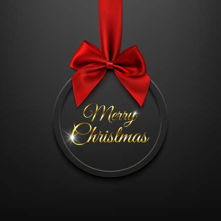 xmass: Merry Christmas round banner with red ribbon and bow, on black background. Brochure or banner template. Vector illustration.