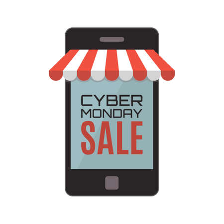 web store: Cyber Monday sale. Mobile phone isolated on white background. Web store concept. Vector illustration.