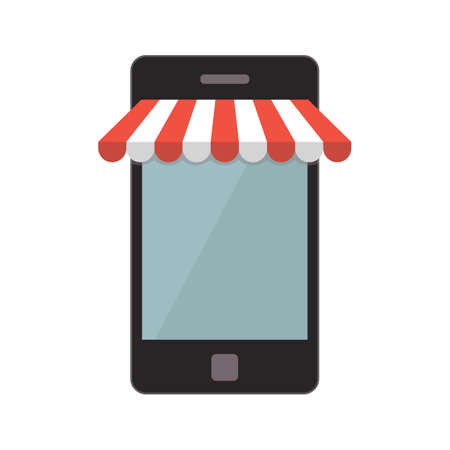web store: Mobile phone isolated on white background. Web store concept. Vector illustration. Illustration