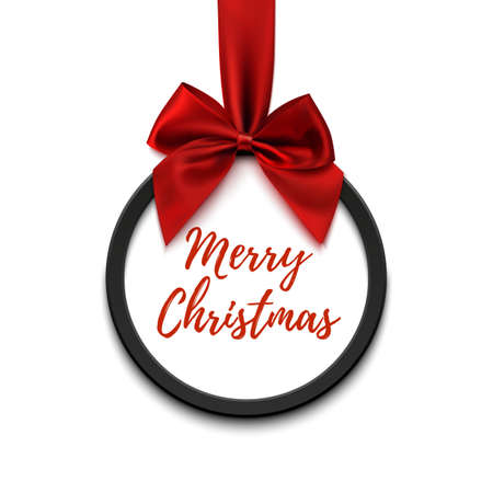 red ribbon bow: Merry Christmas black round banner with red ribbon and bow, isolated on white background. Brochure or banner template.
