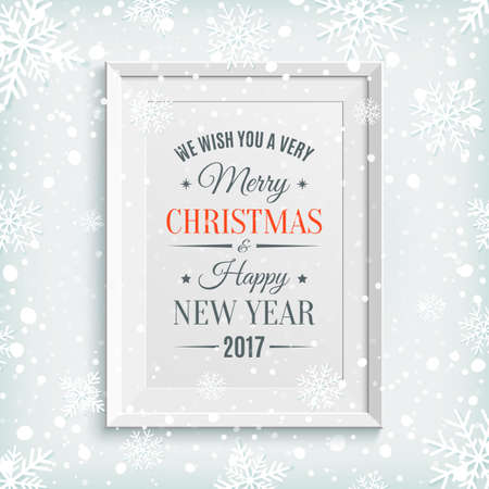 picture card: We Wish You Merry Christmas and Happy New Year 2017 greeting card, brochure or poster template with snow and snowflakes. Winter background. White picture frame. Vector illustration. Illustration