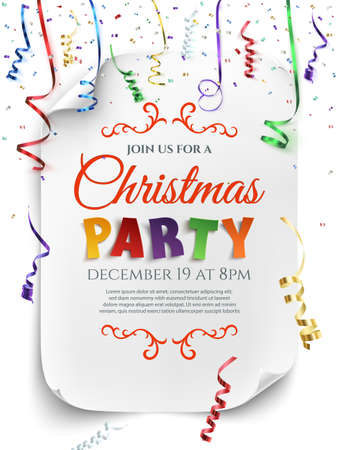 celebration: Christmas party poster template with confetti and colorful ribbons isolated on white background. Vector illustration.