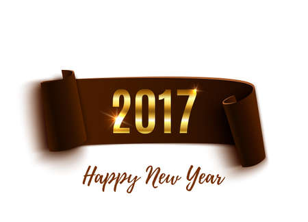 xmass: Happy New Year 2017 brown paper banner isolated on white background. Vector illustration.