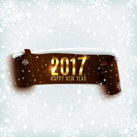 xmass: Happy New Year 2017 celebration background with realistic curved ribbon on winter background with snow and snowflakes. Vector illustration.