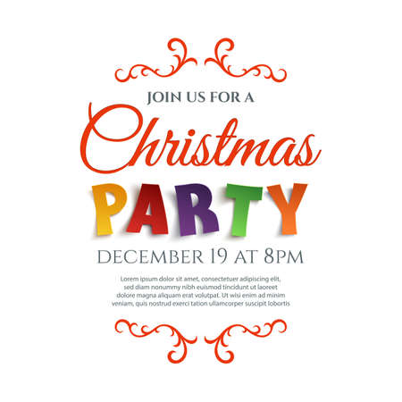 Christmas party poster template isolated on white background. Vector illustration.