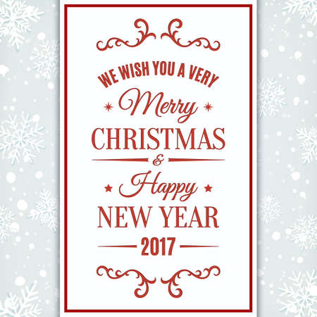 we: We wish you Merry Christmas And Happy New Year greeting card. Invitation, flyer or brochure template. Vector illustration. Illustration