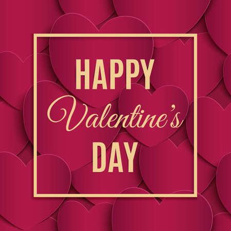 Plantilla de la tarjeta de felicitación feliz del día de San Valentín. Foto de archivo - 70034744