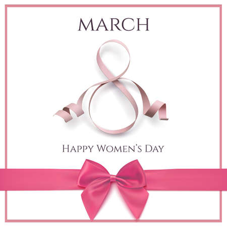8 maart groetkaart sjabloon met roze lint en een boog op witte achtergrond. International Women's Day Background of brochure. Vector illustratie.