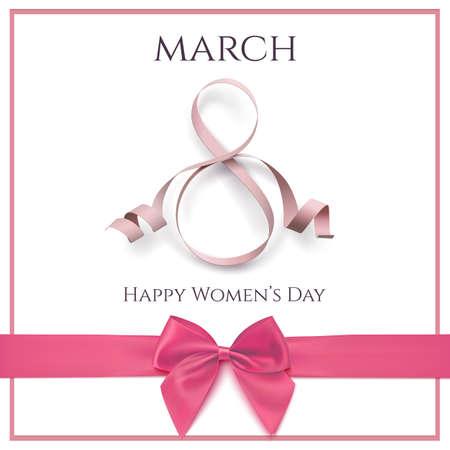 Tema di biglietto di auguri di marzo 8 con nastro rosa e un arco su sfondo bianco. Internazionale Womens sfondo o brochure. Illustrazione vettoriale.