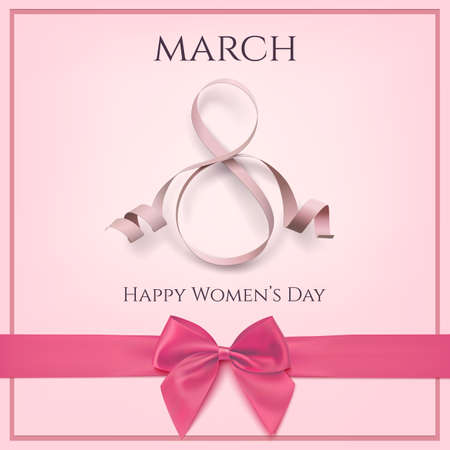 March 8 greeting card template with pink bow.