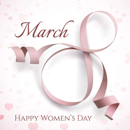 heart month: 8 March International Womens day greeting card. Illustration