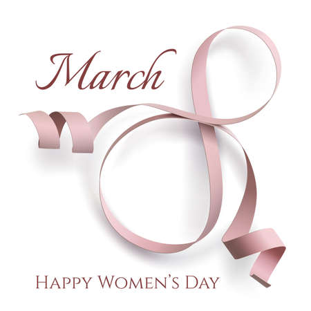 womans: Abstract 8 March greeting card isolated on white.