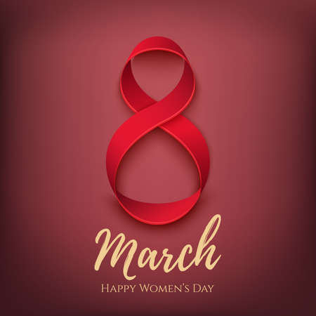 number of people: 8 March greeting card template with hearts. International Womens day background.