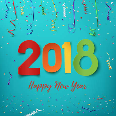 Happy New Year 2018. Colorful background with ribbons and confetti. Greeting card, brochure, or poster template. Vector illustration.