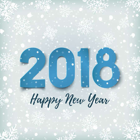 Happy New Year 2018. Blue winter background with snow and snowflakes. Greeting card, flyer, poster or brochure template. Vector illustration.