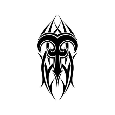 aries: Aries zodiac. Abstract tribal tattoo design isolated on white background. Vector illustration.