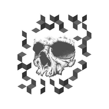 t cell: Abstract dotwork grunge skull. Geometric tattoo design or T-shirt print. Vector illustration.