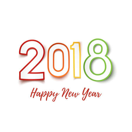 Happy New Year 2018. Colorful Paper Design Pn White. Royalty Free ...