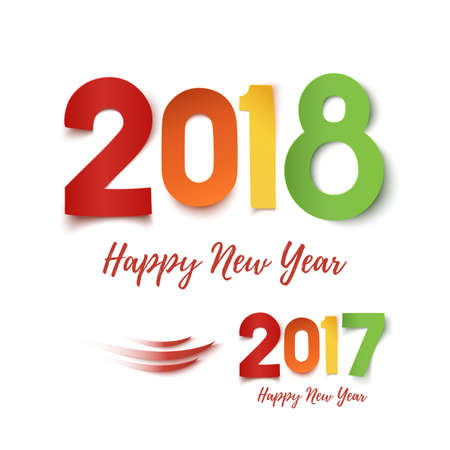newyear: Happy New Year 2017- 2018 colorful design.