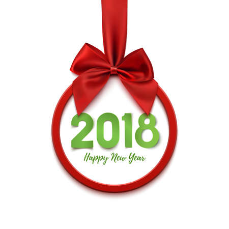 Happy New Year 2018 round banner with red ribbon and bow, isolated on white background. Christmas tree decoration. Greeting card, flyer, poster or brochure template. Vector illustration.
