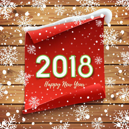 Happy New Year 2018 Greeting card.