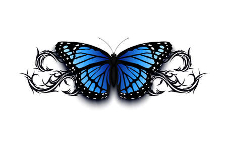 Realistic butterfly on top of abstract han drawn tribal ornament. Tatto design template Vector illustration.