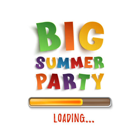 Big summer party loading poster template. Illustration
