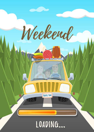 Weekend loading poster. Happy family traveling in the car. Vector illustration.