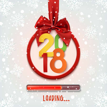 happy new year 2018 loading round banner with red ribbon and bow on winter