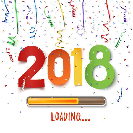 Happy New Year 2018 loading. Colorful abstract design. Background with ribbons and confetti on white. Greeting card template, brochure or poster. Vector illustration. Stock Photo