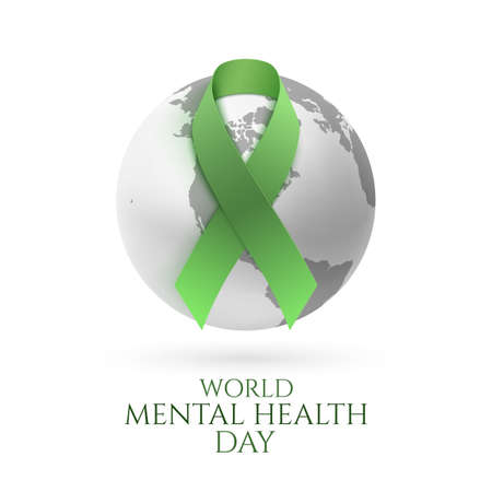 Green ribbon with monochrome earth icon isolated on white background. World mental health day poster or brochure template. Vector illustration. Illustration