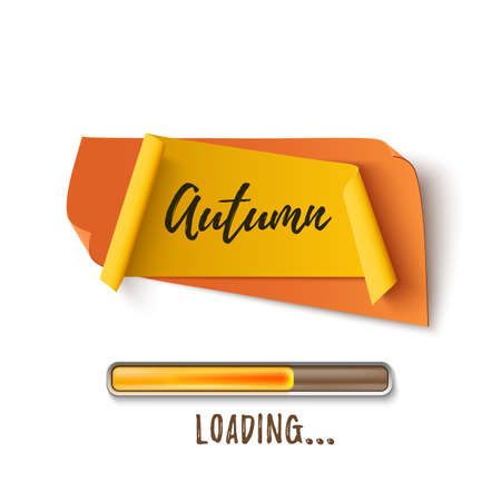 certificate template: Autumn abstract paper banner with loading bar. Illustration