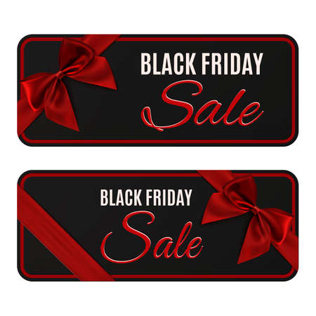 Two black sale banners isolated on white. Illustration