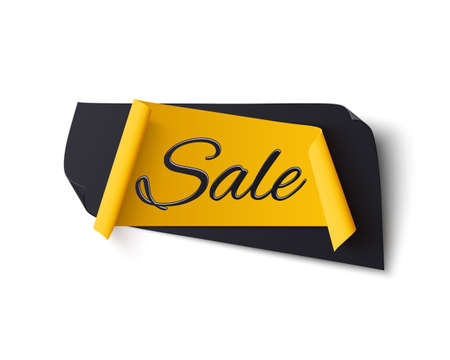 Black and yellow abstract sale banner, isolated on white. Illustration