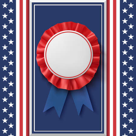 Blank badge. Patriotic award ribbon on abstract background. Illustration