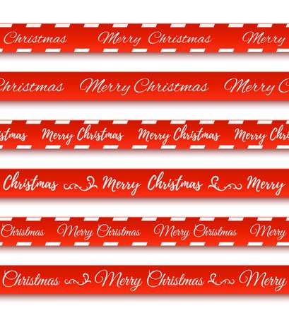 Frohe Weihnachten rote Banner. Set von Warnbändern. Standard-Bild - 87851630