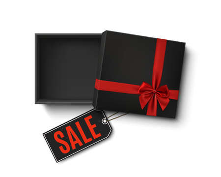 Opened black empty gift box with red ribbon, bow and sale price tag isolated on white background. Top view. Template for, banner, brochure or poster. Vector illustration. 矢量图像