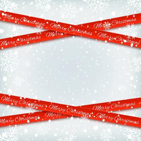 Rote Bänder der frohen Weihnachten mit Schnee und Schneeflocken Standard-Bild - 88083762