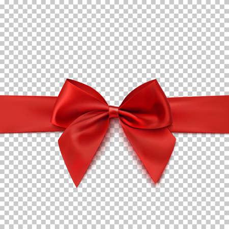 réaliste arc rouge et ruban isolé sur fond transparent . modèle pour brochure ou carte de voeux. illustration vectorielle Vecteurs