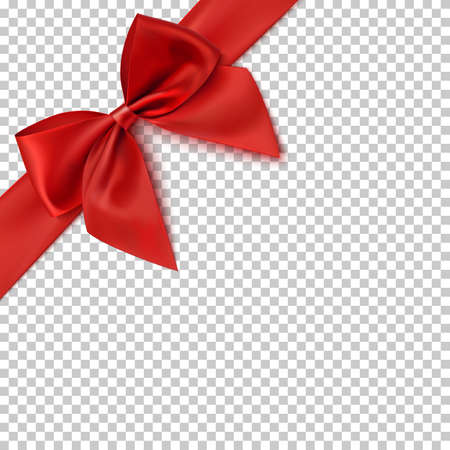 Realistic red bow and ribbon illustration.