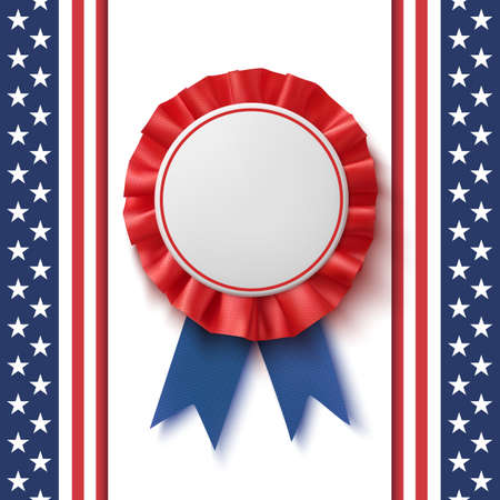 Blank badge in blue and red label with ribbon,  template design. Ilustração