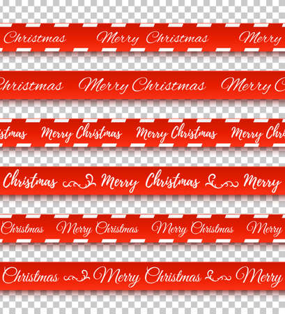 Merry Christmas red banners. Set of warning tapes, ribbons on transparent background. Vector illustration. Standard-Bild - 90318581