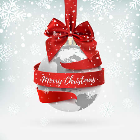 Merry Christmas, earth icon with red bow and ribbon around. Vetores