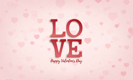 Abstract background LOVE. Valentines day greeting card template with small pink hearts.