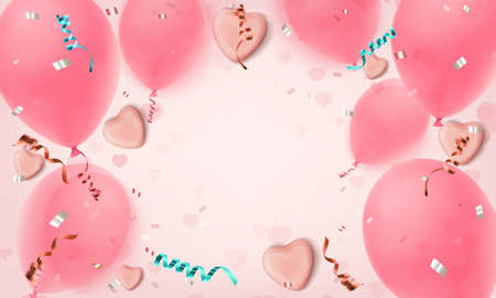 Abstract pink background with realistic candy hearts, balloons, konfetti and ribbons.