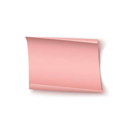 Abstract pink paper banner isolated on white background. Valentines day, birthday or other event greeting card template.