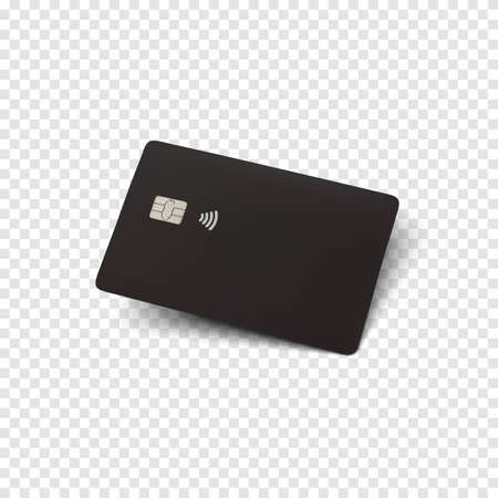 Black credit card. Blank realistic template for your projects. Vector illustration. Illusztráció