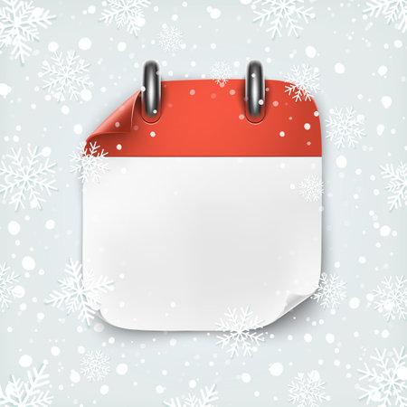 Blank calendar icon template on winter backgound with snow and snowflakes. Illusztráció