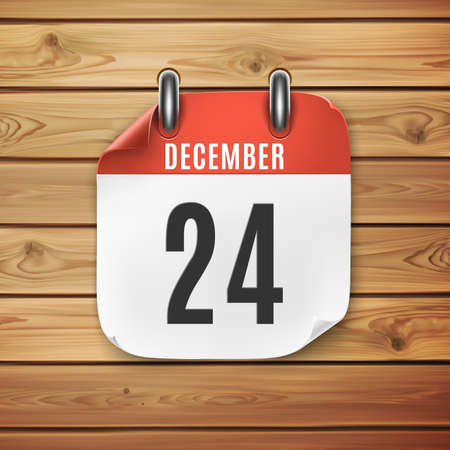 December 24 calendar icon on wooden background. Christmas Eve. Ilustrace